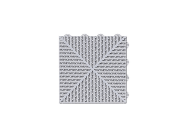 Made of polyethylene, Loose Lay/Interlocking Deck Tiles in shadow gray are sold in sets of \16; \$\133.49 per set from Wayfair.