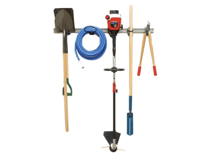 A 48-inchHanging Tool Organizer rail can hold up to 50 pounds-mount it on a garage or shed wall. It is $5loading=