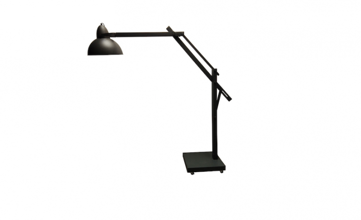 From France-based design house Mon Atelier Secret, an indoor-outdoor Tom Floor Lamp in gray has an articulated, adjustable arm. For more information and pricing, see Mon Atelier Secret.