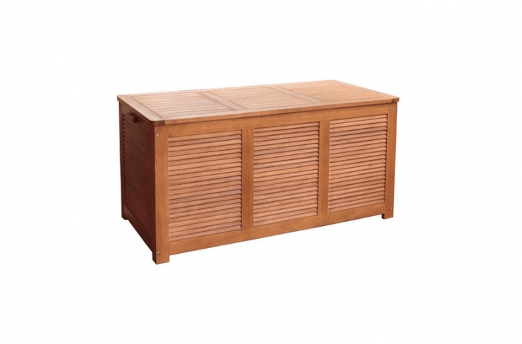 A louvered Outdoor Wood Deck Box is made of eucalyptus and has a waterproof silicone-sealed top; \$\179.99 from All Modern.