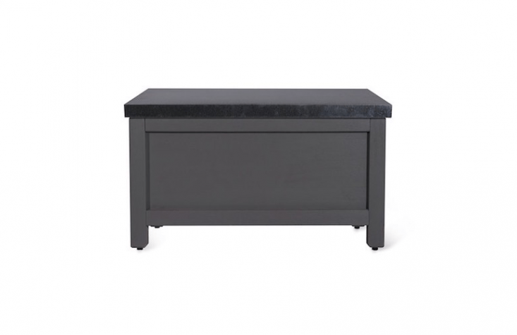 Painted a weatherproof charcoal gray, a Northcote Outdoor Storage Box has a zinc lid; £\170 from Garden Trading.