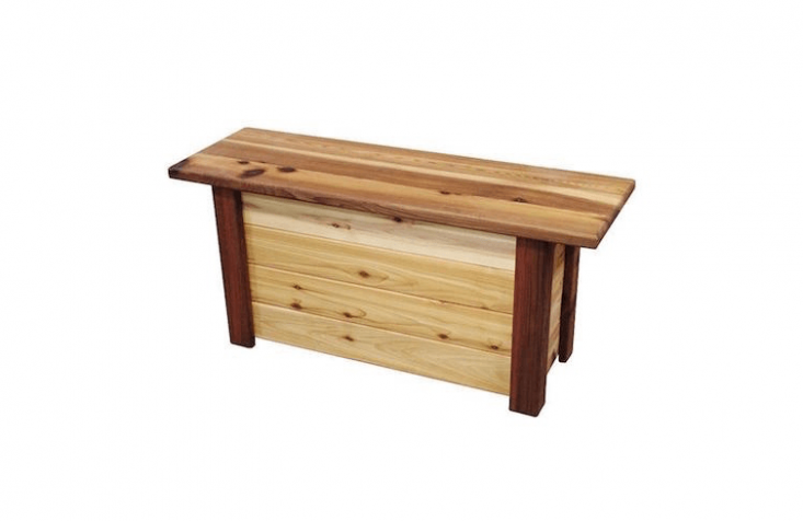 A liddedWood Storage Bench with a 7.3-gallon capacity is \$\256.99 at Wayfair.