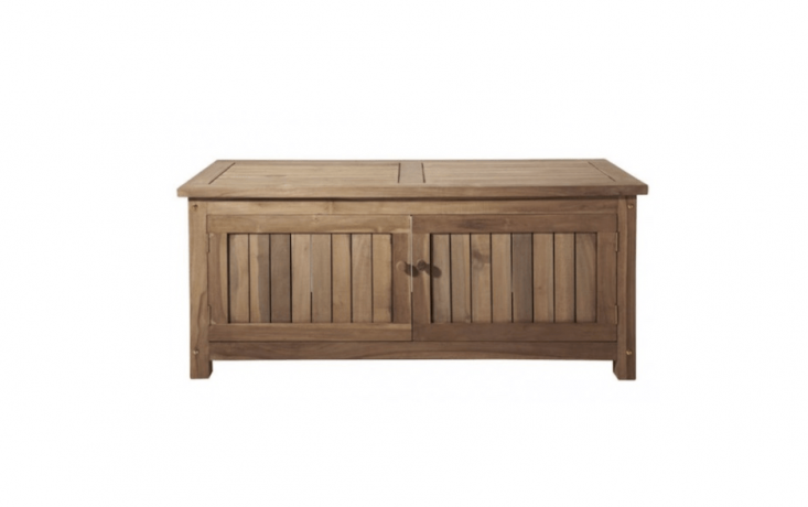 From Signature Hardware, a two-door Keymar Teak Outdoor Storage Bench is available in two lengths (4 or 5 feet) at prices from \$399.95 to \$475.95 depending on length.