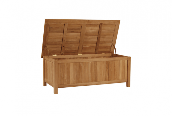 On sale from Bison Furniture, an unstained solidTeak Storage Box has safety hinges to prevent slamming. It measures 48 by \23.5 inches and is \18.\25 inches high; \$480.94.