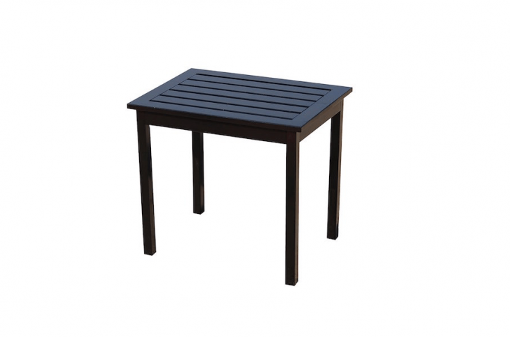 With a slatted top that dries quickly, a Hardwood Side End Table from Southern Enterprises measures \15 by \20 by \18 inches and is available in black as shown or white; from \$50.\29 to \$57.89 depending on color from Amazon.