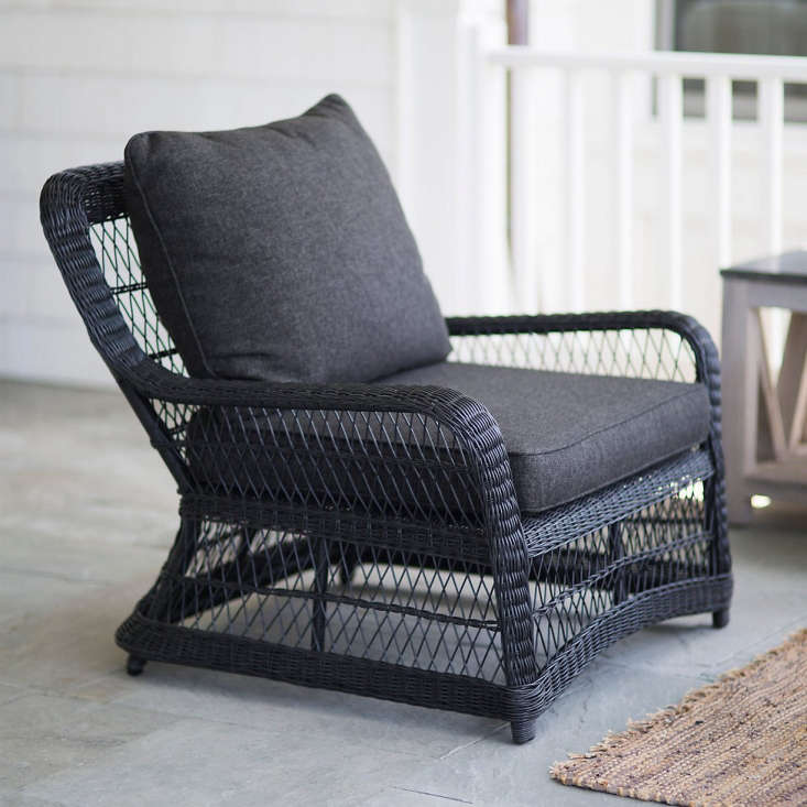 ACurved All Weather Wicker Armchair is 3\1 inches high and 35 inches wide and has a 35.8-inch-deep seat; \$898.