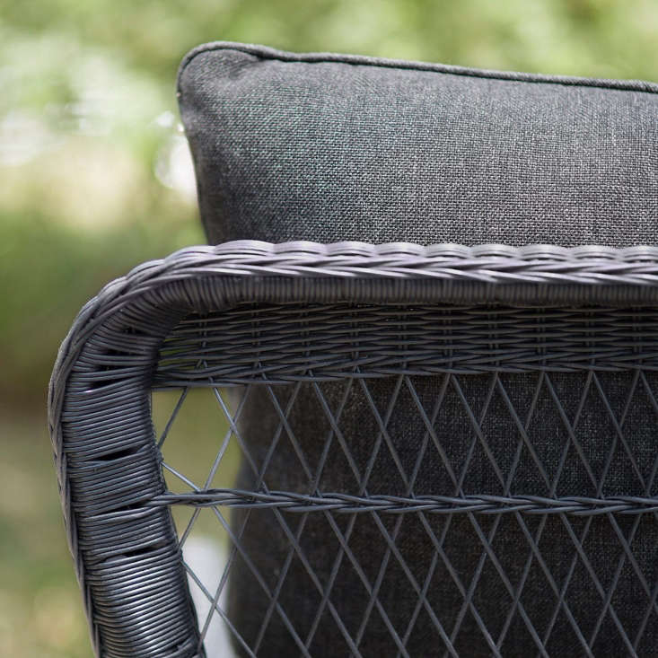 A welded aluminum frame and lightweight, recyclable woven synthetic fibers are weatherproof (and can be cleaned with mild soap and water).
