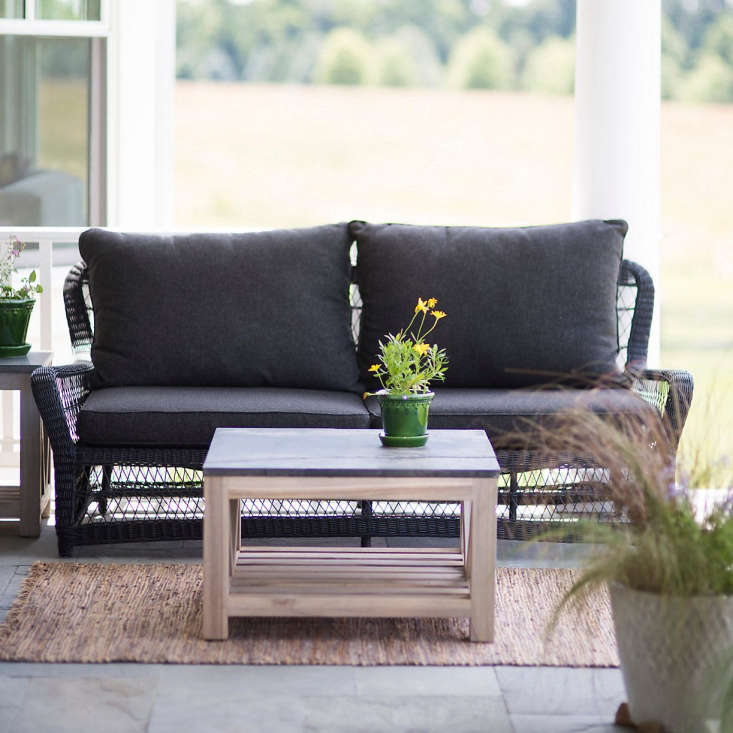 A 73-inchCurved All Weather Wicker SofaCurved All Weather Wicker Sofa is 3\1.5 inches high; the seat is 35.8 inches deep. It is \$\1,698.