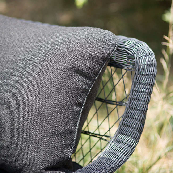 Made exclusively for Terrain, the cushions are covered in Olefin outdoor fabric (beneath the covere is outdoor foam, polyfiber wrap, and polyfill fiber).