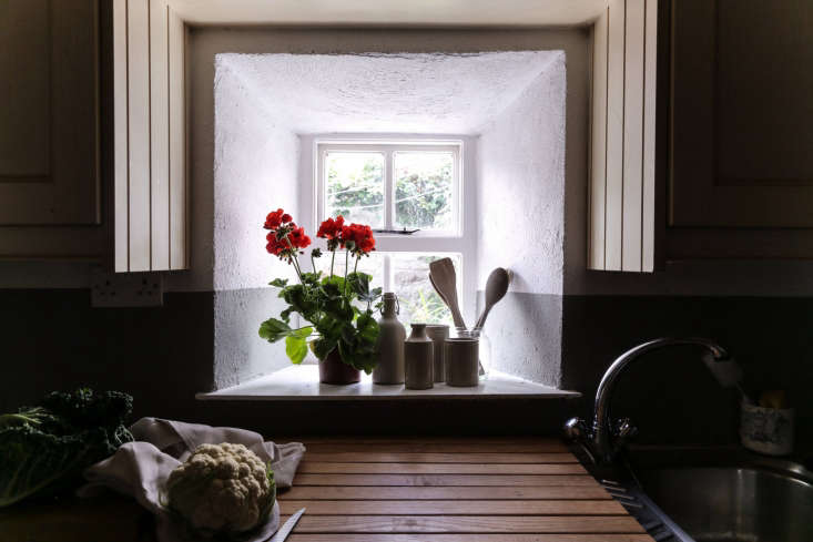"""We&#8\2\17;re also taking another look at the \200-year-old stone cottage of a creative couple in County Mayo, Ireland. Shown here: their collection of vintage earthenware vessels and a red geranium, """"a very nostalgic houseplant that reminds us of our grandparents' generation.&#8\2\2\1; See more atHouse Call: At Home in an Irish Stone Cottage with Superfolk over on Remodelista."""