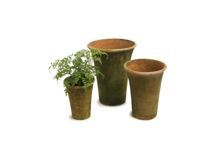 A terra cottaTall Nursery Planter comes in four sizes—4, 6, and 8 inches tall—and is available for from \$\26.\25 to \$58.75 depending on size at Campo de Fiori.