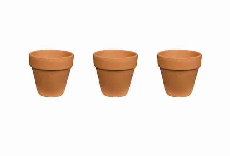 A 6-inch Red Terra Cotta Clay Pot is \$\1.\24 apiece from Home Depot.