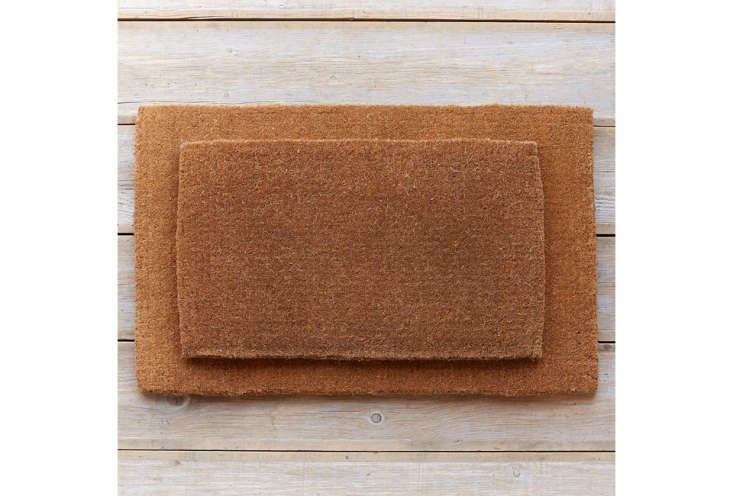 The Natural Coconut Doormat comes in two sizes at Terrain, the small is $78 and the large is $8.