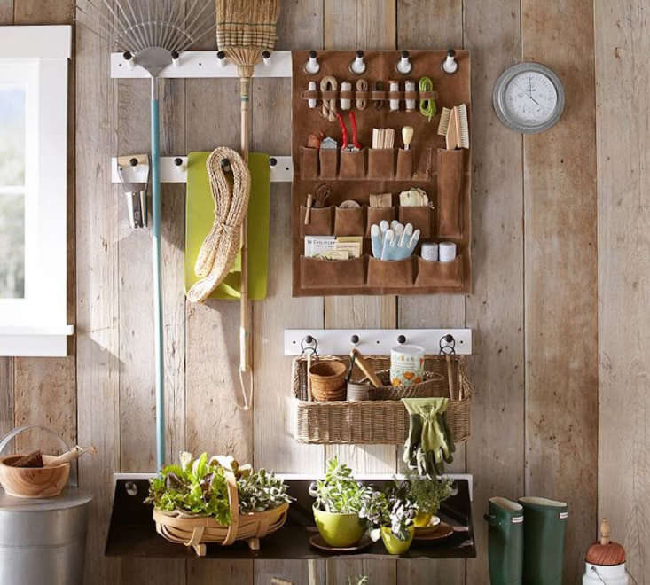 A four-peg or eight-peg Peg Rail made of mango wood comes with mounting hardware and can hold up to 40 pounds; from $.50 to $35.50 depending on size, it is part of the Gabrielle System for storage at Pottery Barn. (We also are admiring the Suede Organizer, on sale for $79.99.)