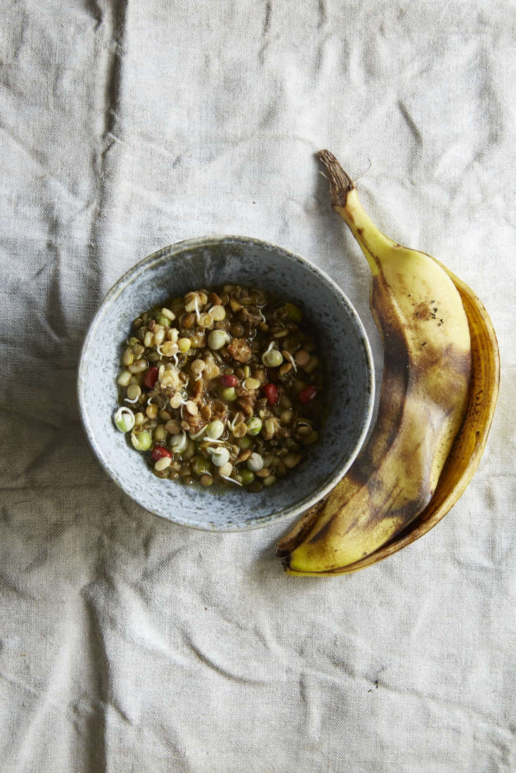 Sprout Salad with Banana Peel Miso, one of the many ways Refslund recommends repurposing peels. Sprouting legumes can be kept in the refrigerator for up to a week.
