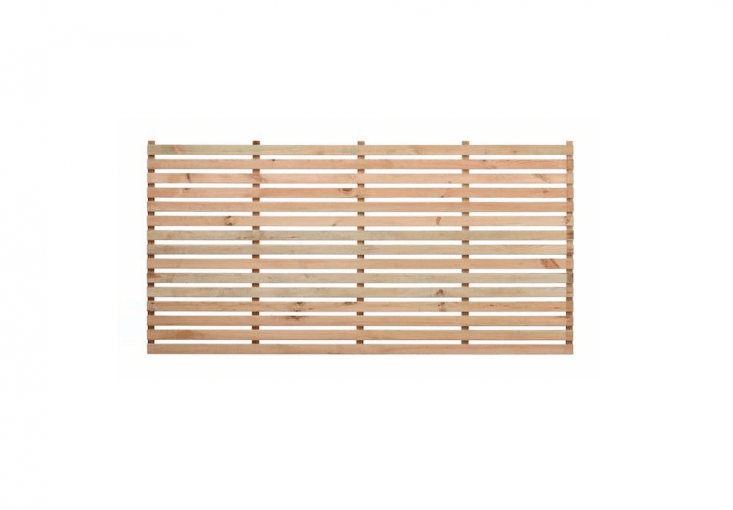 Pre-made slatted panels of FSC timber can create a screen to hide an air conditioner. Available in three sizes and \1\2 finishes including unpainted natural as shown, a Wide Slatted Panel is from £\24 to £5\1 from Garden Trellis.