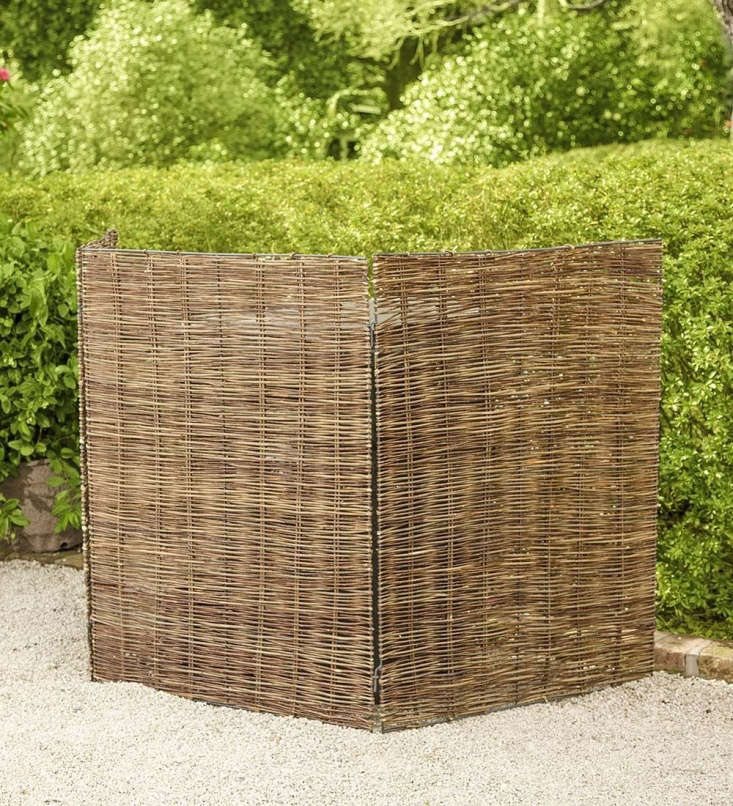 A Willow Tri-Panel Trash Can Cover also works well to hide an air conditioner; \$\149.95 at Plow & Hearth.