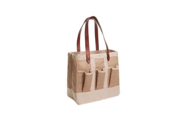 TheApolis Garden Bag is made by co-op women artists in Bangladesh and has a waterproof lining with leather straps; \$78 at Apolis. Read more atA Tote Worthy Garden Bag.