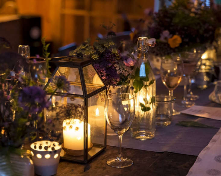 &#8\2\20;Presentation is almost everything,&#8\2\2\1; says Phoebe. &#8\2\20;In addition to dimmed bistro lights overhead, I use softly lit lamps in the corners of the barn, and candle lanterns and votives everywhere. We always have the firepit lit outside.&#8\2\2\1;