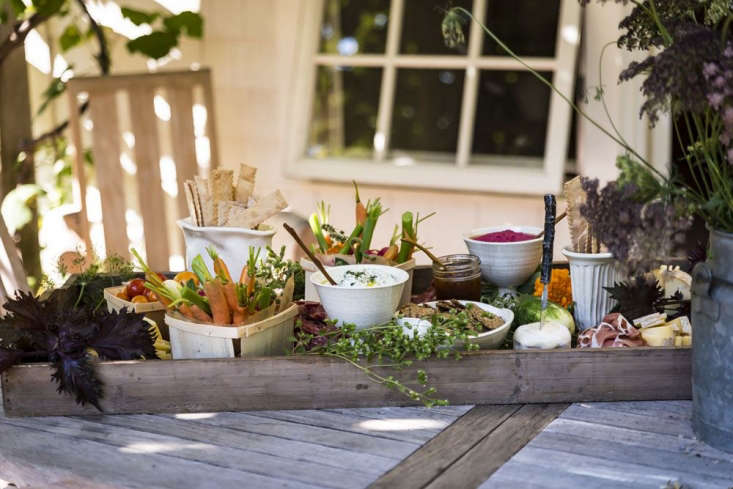 Garden to table, with homemade crackers and dips.