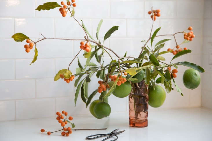 For a casual tabletop arrangement, Sophia clipped the orange berries while on a walk in her neighborhood, and found the unripe lemons in a friend&#8