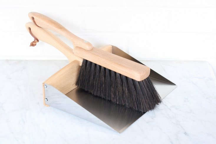 AGarden Dustpan And Brush Set has oiled beechwood handles and a stainless steel dustpan. It is \$54 from Flotsam & Fork.