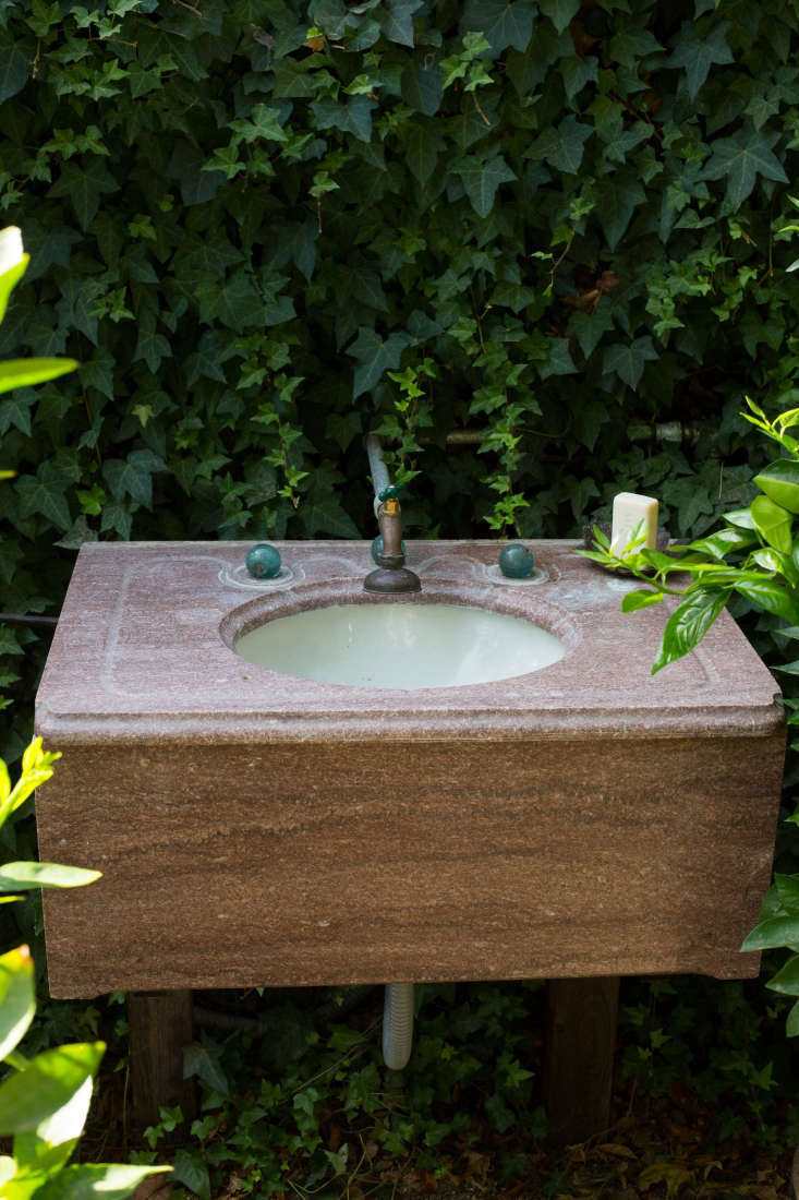 The vintage marble sink was a family find; Clay&#8
