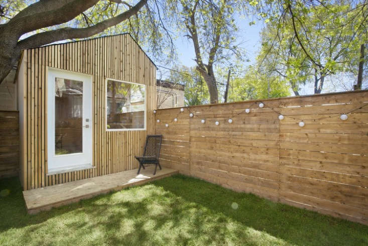 The studio also has a small deck, also constructed of cedar.