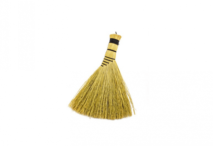 A Turkey Wing Broom with broomcorn bristles tied with nylon is $ from The Broom House via Etsy.