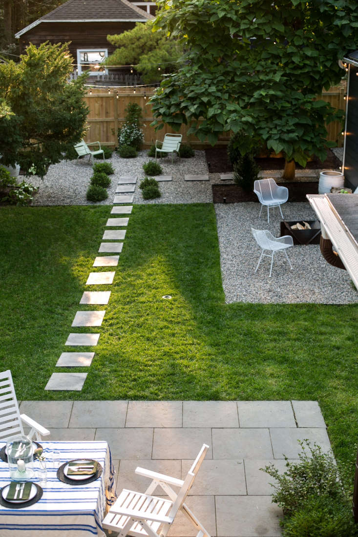 An overhead view of the garden, as seen from the house. In addition to two gravel patios, Adams has a dining terrace.
