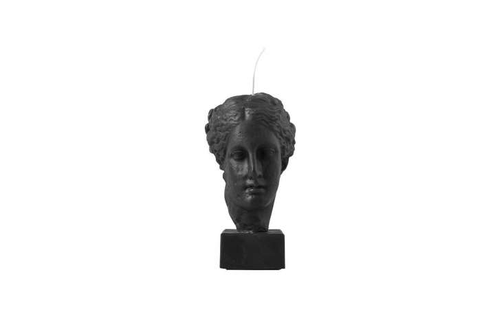 The Hygeia Bust Candle in black is in the shape of the Greek goddess of body/mind health; €99 at Sophia in Greece.