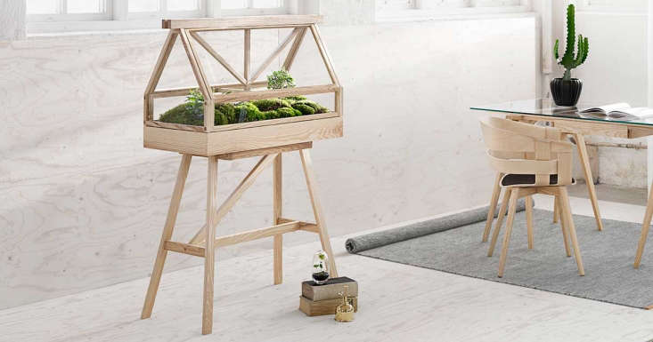 The Indoor Greenhouse also is available in a natural ash wood finish.