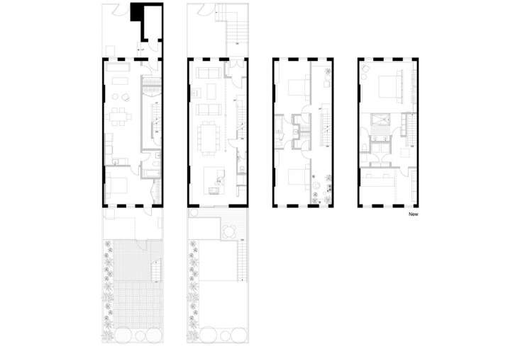 The architectural plan shows a view of the deck and garden. Lauren and Keith rent the garden unit to a tenant. They built the deck in a way that does not limit the amount of sunlight into the unit and created a fence to give the tenant privacy in the unit&#8