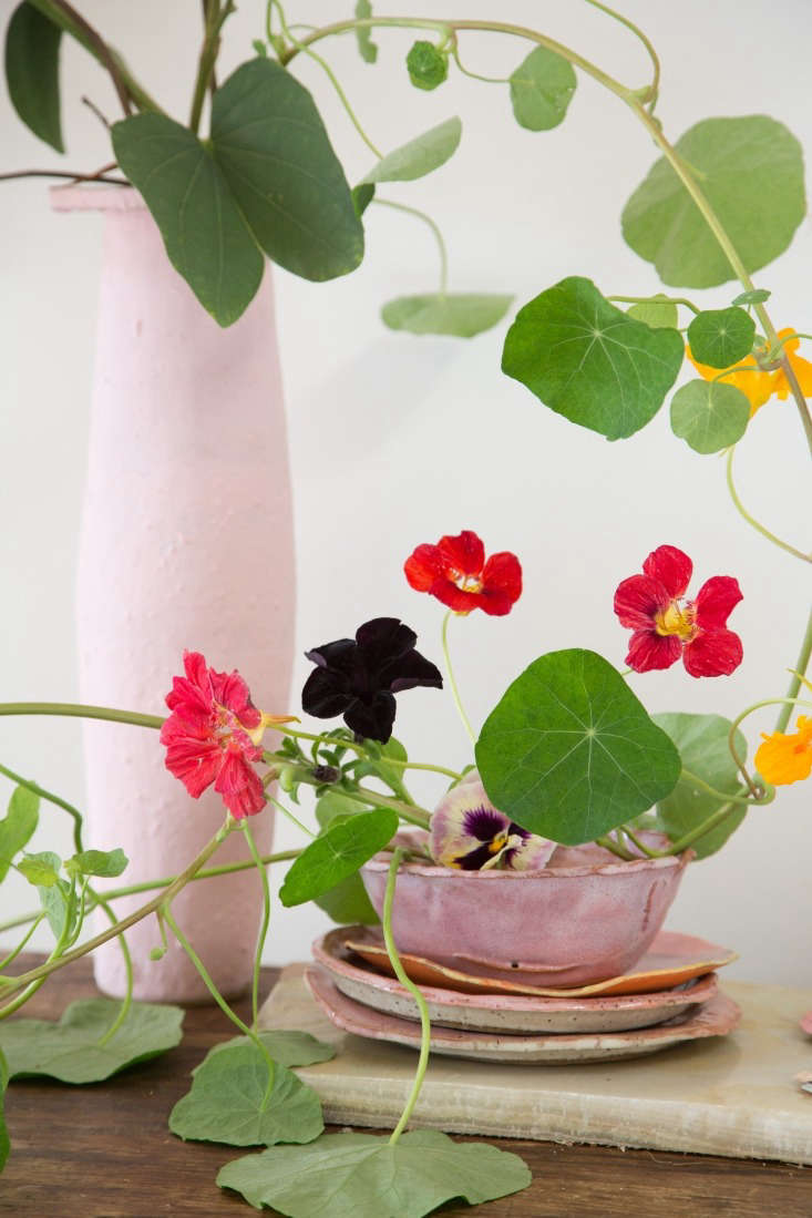 A nasturtium, pansy, and petunia composition is just the kind of informal arrangement Sophia is known for. To create it, she set a floral frog inside the bowl and draped nasturtium vines with twigs over the lip of the tall vase. The plates and cereal bowl are by artist and painter Nora Slade, and the tall pink vase is by B Zippy.