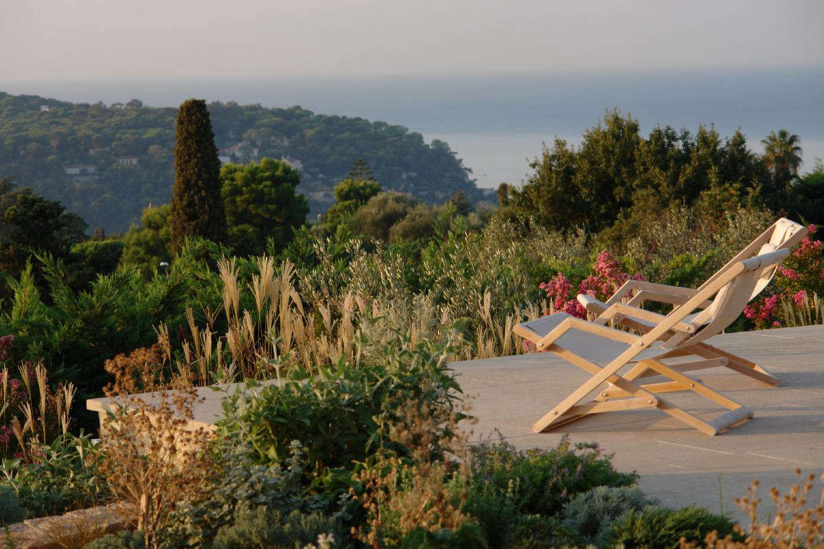 Gardeners in the South of France are often blessed with panoramic views of the surrounding hills. At a project in Villefranche-sur-Mer, designer James Basson created a cool stone terrace where his clients could soak up the astounding views of the surrounding hills and the Cote D'Azur.