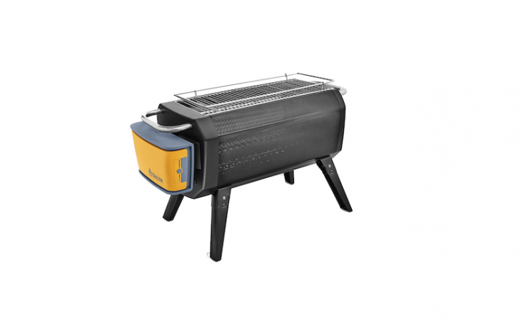 Funded by a Kickstarter campaign, a smokeless BioLite fire pit is powered by a rechargeable \10,400 mAh battery; the air injection system can be controlled manually or by Bluetooth app. The fire pit recirculates smoke, re-burning it. For more information and prices, see BioLite.