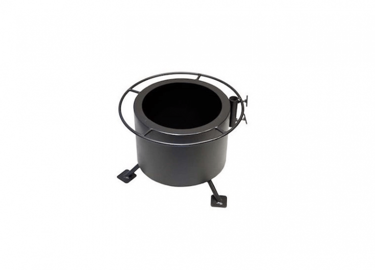An American-Made Double Flame Smokeless Fire Pit and Grill has a secondary after burner to ignite smoke before it can escape and is \$\269.95 from Plow & Hearth. Sold separately, a Stainless Steel Fire Pit Grill is \$99.95.