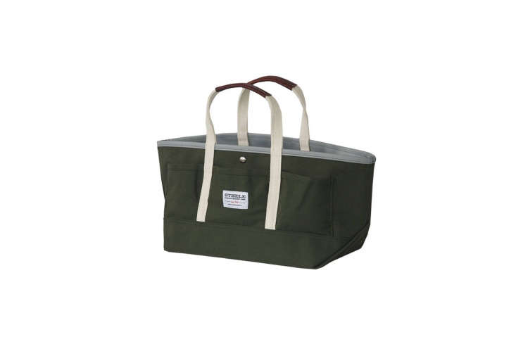 Steele, one of our favorite sources for canvas goods, makes theGarden Tote III from heavy green-color canvas and comes with or without a shoulder strap; \$59.50 at Steele Canvas.