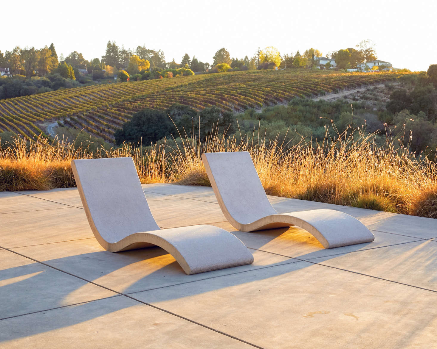 Jenner Lounge chairs are hand-cast by Concreteworks in nearby Alameda, California.