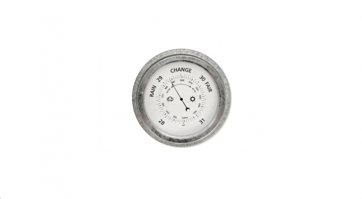 A galvanized steel St Ives Barometer is £36 from Garden Trading.