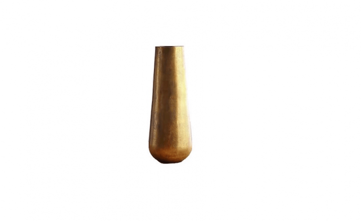 A tall Element Metal Antiqued Brass Vase is \20.5 inches high; made in India of sand casted aluminum with an antique bass finish, it is \$\1\29 from Crate and Barrel.