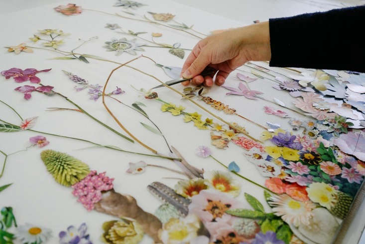 Anne arranges each 'plant' prior to gluing each piece individually on mounting pins.