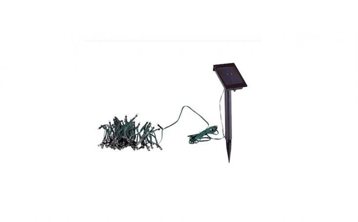 A \100-light set of Solar Powered White LED String Lights is \$\23.98 from Home Depot.