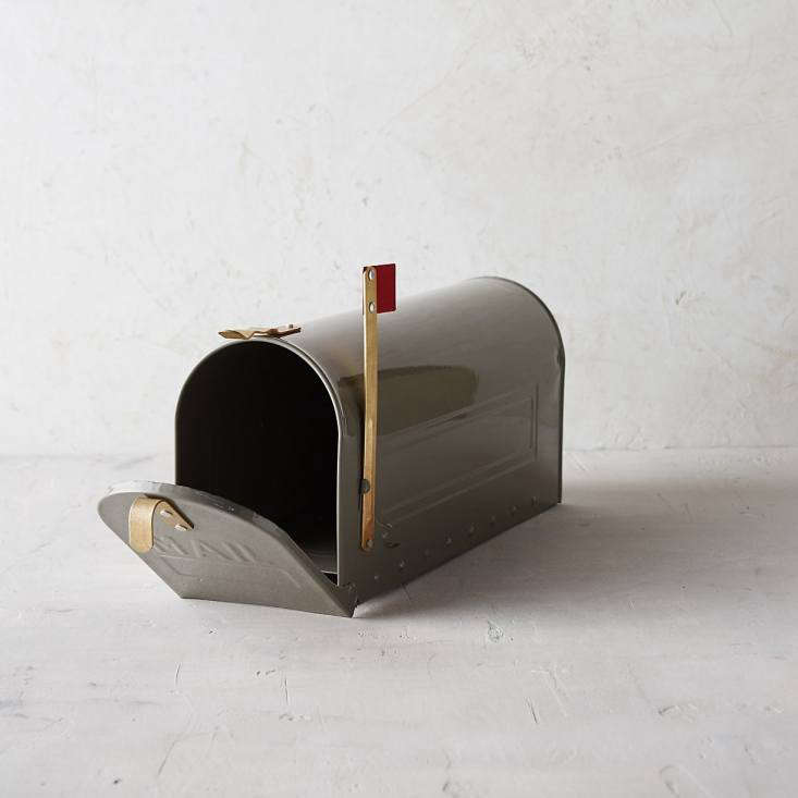 Handmade in Turkey, a galvanizedSteel Mailbox is available in three colors including gray as shown; the powder coated finish will withstand winter weather. It is \$78 from Terrain.