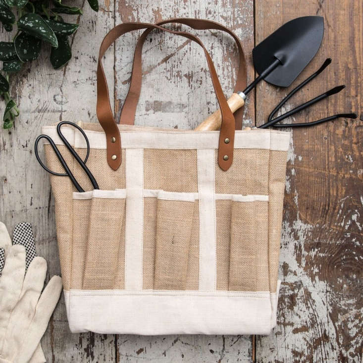 A burlapSeed & Supply Garden Tote with a wax-coated interior is \$40 from Magnolia.