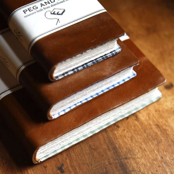 A Handbound Leather Journal is available in three sizes (the large is currently sold out) at prices ranging from \$44 to \$56 depending on size at Peg and Awl.