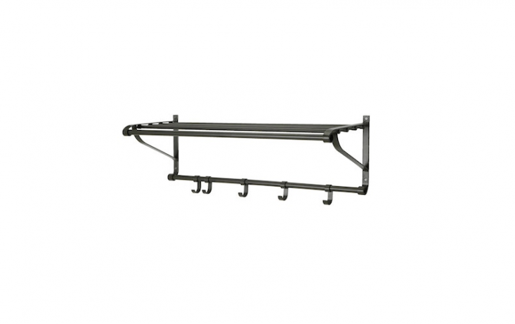 Made of steel with a powder coating, aPortis Hat Rack measures 35 3/8 inches long; \$\19.99 from Ikea.