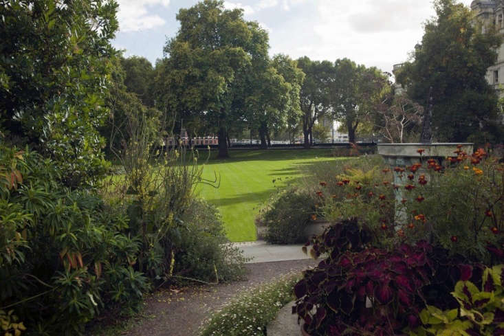 The Inner Temple Garden, from behind the High Border looking towards the River Thames.