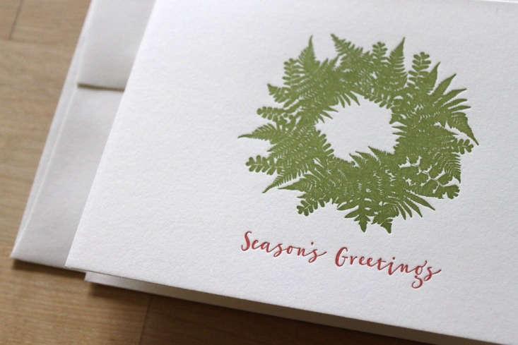 letterpress fern wreath holiday card moontree