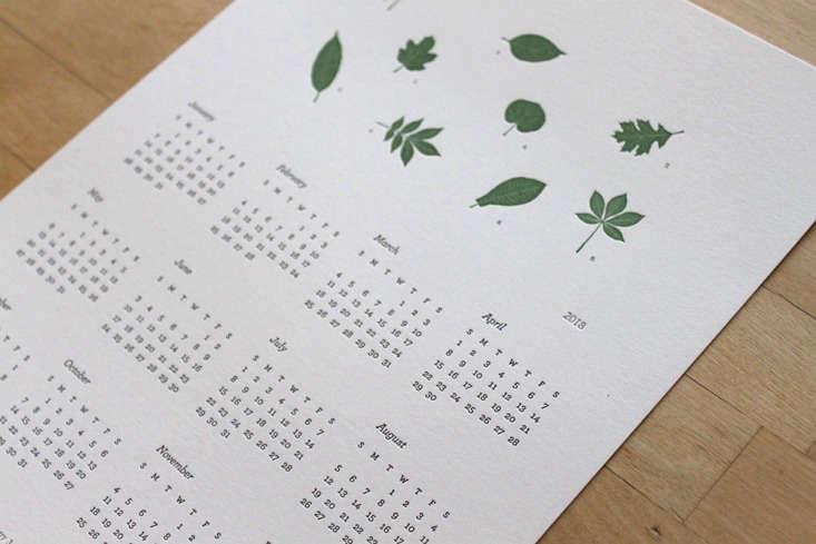 letterpress leaves calendar moontree